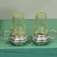 Vintage Salt and Pepper Shakers Oil Lamps Aluminum and Plastic Lantern