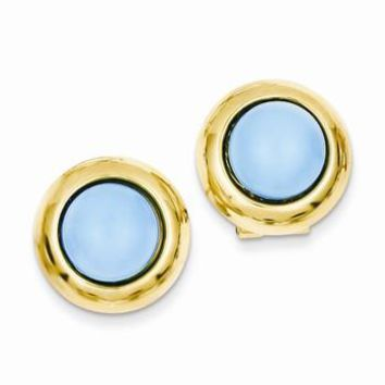 14k Yellow Gold Omega Clip Turquoise Earrings