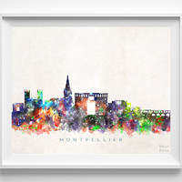 Montpellier Skyline, France Print, Watercolor Painting, Cityscape, City Poster, Dorm Room Decor, Wall Art, Home Decor, Christmas Gift