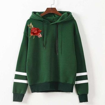 Rose Embroidery Hoodie