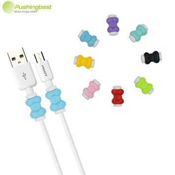 Pushingbest Bowknot USB Cable Earphone Protector Cover Case Colorful Charging data line case cover For Iphone 4 5 5s 6 7