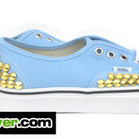 Studded Vans Authentic Blue Bell Mini Gold Round Pyramid Studs - FREE SHIPPING - by Bandana Fever