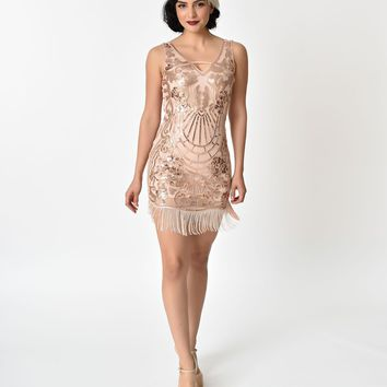 1920s Style Pink & Rose Gold Sequin Fringe Cocktail Dress