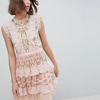 Needle & Thread High Neck Layered Mini Dress With Embroidery at asos.com