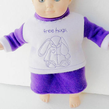 "FREE SHIPPING, bitty baby clothes, EASTER skirt Sweatshirt, Bunny Rabbit Easter, girl, or 15"" twin doll, purple lavender handmade"