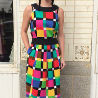 90s Dress Colorblock Colorful Geometric Plaid Vintage Cotton Sleeveless M