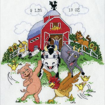 "Barnyard Sampler Birth Record Counted Cross Stitch Kit 11""X14"" 14 Count"