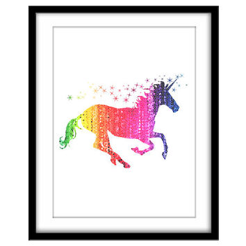 Rainbow Unicorn, Printable Poster, Girls Room, Nursery Art, Wall Art, Colourful Mosaic Art