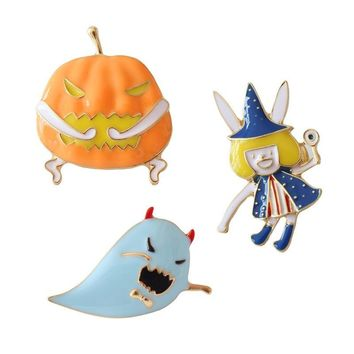 Halloween Series Ghost Festival Pumpkin Little Monster Little Witch Brooch for Women Dress Scarf Brooch Pins Jewelry Accessories
