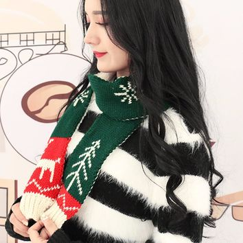 Christmas Style Lover Scarf New Autumn Winter Warm Fashion Christmas Adult Scarf Small Scarves Knitted Wool Black Couple Collar