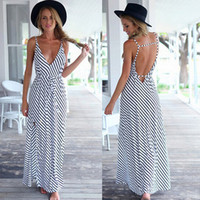 Summer Deep V Spaghetti Strap Backless Prom Dress One Piece Dress [4966222404]