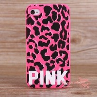 Victoria's Secret PINK Leopard  Skull Silicone Soft Rubber Case For iPhone 4 4S