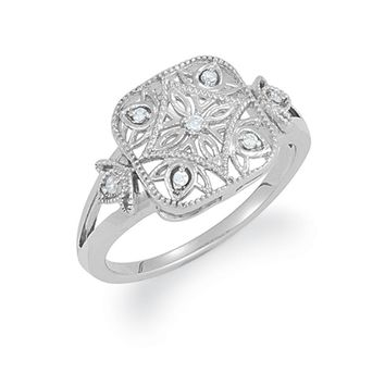 Vintage Style .05 Ctw (G-H, I2) Diamond Square Ring in Silver