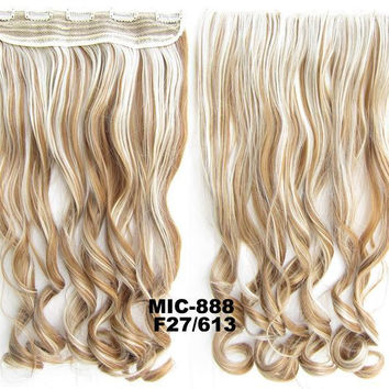 Bath & Beauty 5 Clip in synthetic hair extension hairpieces wavy slice curly hairpiece MIC-888 F27/613,Hair Care,fashion Cosplay ombre 1PC