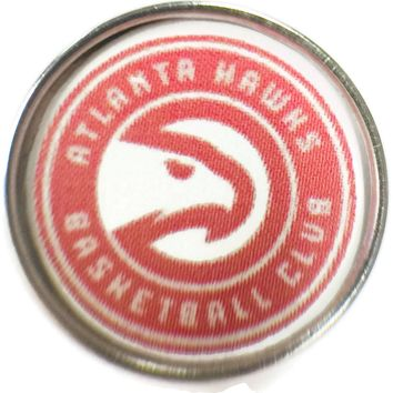 NBA Basketball Logo Atlanta Hawks 18MM - 20MM Fashion Snap Jewelry Snap Charm New Item