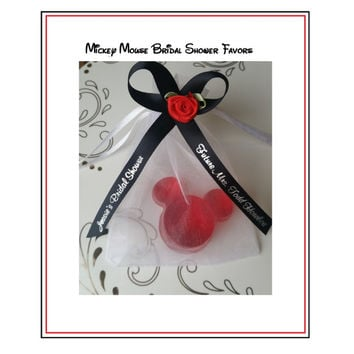 Mickey Mouse Soap Party Favors - Minnie Walt Disney Baby Bridal Shower Birthday Party Favors & Personalized Ribbon - Pack of 10