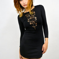 Black V-Lace Dress