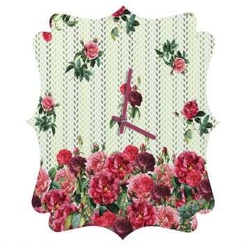 Belle13 Vintage Rose Pattern Quatrefoil Clock
