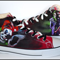 Custom Mens Shoes, Painted Shoes, Harley Quinn & Joker, Painted Chucks, Painted Converse, Custom Converse, The Joker, Harley Quinn, Comics
