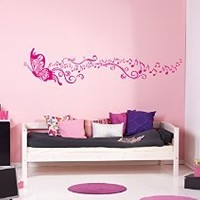 ik1144 Wall Decal Sticker Butterfly flowers music notes children's bedroom