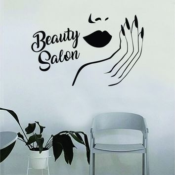 Lips and Nails Beauty Salon Quote Beautiful Design Decal Sticker Wall Vinyl Decor Art Eyebrows Eyelashes Make Up Cosmetics MUA Lashes Girls