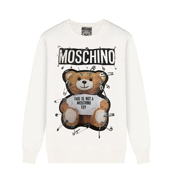 Moschino New fashion letter bear pin print couple long sleeve top sweater White