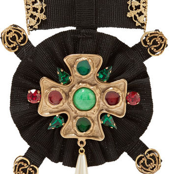 Dolce & Gabbana - Grosgrain, gold-plated, Swarovski crystal and faux pearl brooch