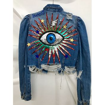 NEW Vintage Protected Ray of Light Denim Jacket.