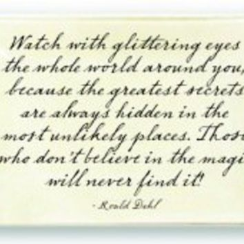 Glittering Eyes Quote Glass Tray