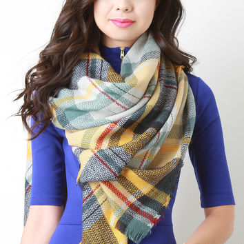 Multi Colored Plaid Woven Blanket Scarf
