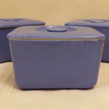 40s Westinghouse Blue Hall China Refrigerator Dishes w Lids Set of 3