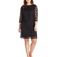 London Times Women's Plus-Size Lace-Overlay Dress