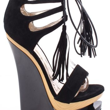 BLACK FAUX SUEDE OPEN TOE LACE UP DOUBLE PLATFORM WEDGE HEELS