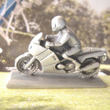 Pewter motorcycle with rider statuette collectible,desk or shelf accessory,made in N.America,unisex gift,motor bike enthusiasts,bike racing.