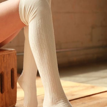 Cotton Cable Over The Knee Socks-Ivory