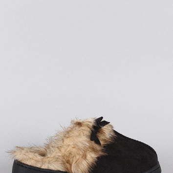 Suede Faux Fur Slip On Clog