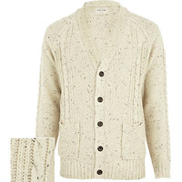 River Island MensEcru cable knit V neck cardigan