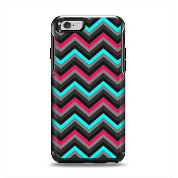 The Sharp Pink & Teal Chevron Pattern Apple iPhone 6 Otterbox Symmetry Case Skin Set