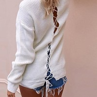 White Drawstring High Neck Long Sleeve Casual Pullover Sweater
