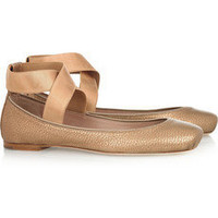 Chloé | Metallic textured-leather ballet flats | NET-A-PORTER.COM