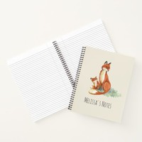 Momma Fox and Baby Watercolor Illustration Notebook