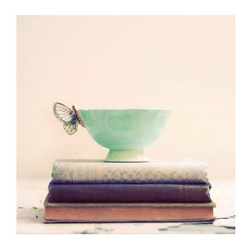 Still Life Photograph, Tea and Books, 8x8 Print, Shabby Chic Photo, Vintage Teacups Photo, Soft Pink, Butterfly Cup Photo
