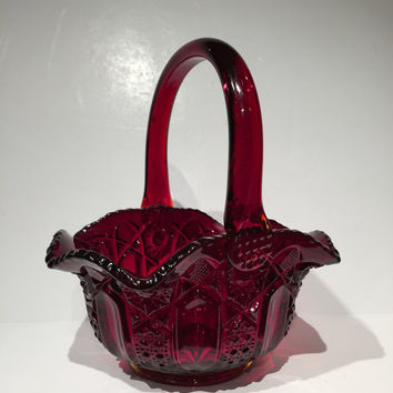 "Vintage L E Smith Ruby Red Glass Basket with Handle,  L E Smith Red Glass Basket Quintec Pattern 8"" Mint Condition, L E Smith Red Basket"