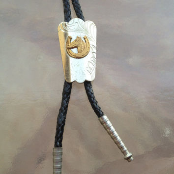 Bolo Tie Horse Horseshoe Silver Metal, Black Leather Cord, Hipster Bolo Tie, Cowboy Bolo Tie, Cowgirl Bolo Tie, Hipster Fashion