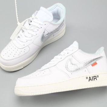 Complexcon Custom Off-white X Nike Air Force 1 Low White/metallic Silver-sail Ao4297-100 - Beauty Ticks