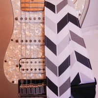shades of grey chevron stripe indie guitar strap