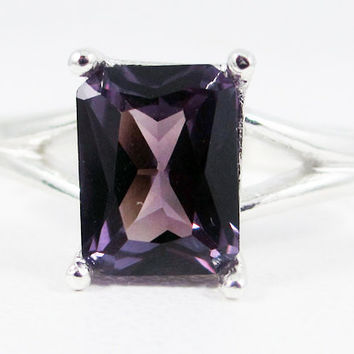Alexandrite Emerald Cut Ring Sterling Silver 925