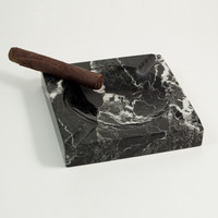 Solid Marble Cigar Ashtray, Square, Black