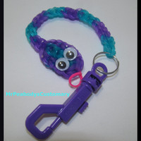 Kids Snake Key Chain Rainbow Loom - Party Favor Bracelet Charm Figure Character Jewelry Birthday Rubber Bands Jelly Neon Colors