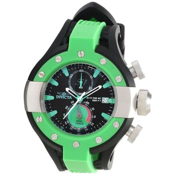 Invicta 13064 Men's S1 Rally Green Bezel Black Dial Rubber Strap Chronograph Dive Watch